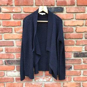 Loft Cozy Navy Blue Knit Open Front Cardigan Large